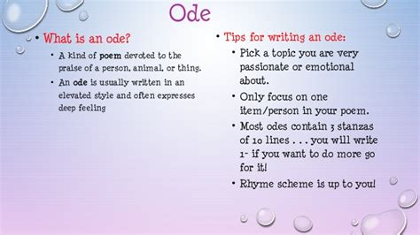 writing an ode template types of poetry