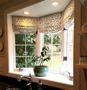 Kitchen Bay Window Treatment Ideas Custom Roman Shades In Lacefield Imperial Bisque Fabric By