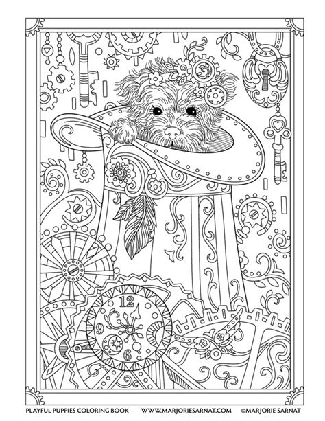 puppies coloring pages for adults steunk pup playful puppies coloring book by marjorie