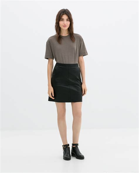 zara a line faux leather skirt in black lyst