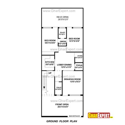 27 sq meters to feet house plan for 24 feet by 60 feet plot plot size160