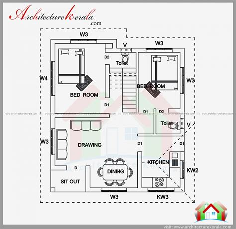 one bedroom house plans kerala architecture kerala superior 2 bedroom house plans in