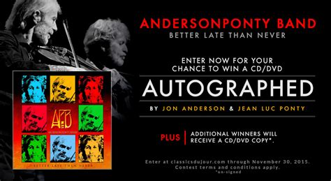 win signed copies or a enter to win an autographed copy of andersonponty band s