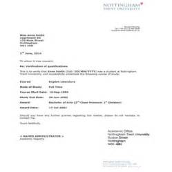 College Verification Letter Sle Verification Letter Nottingham Trent