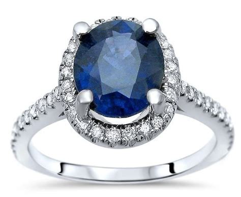 Blue Sapphire 9 95 Ct 2 70ct oval blue sapphire halo engagement ring 14k