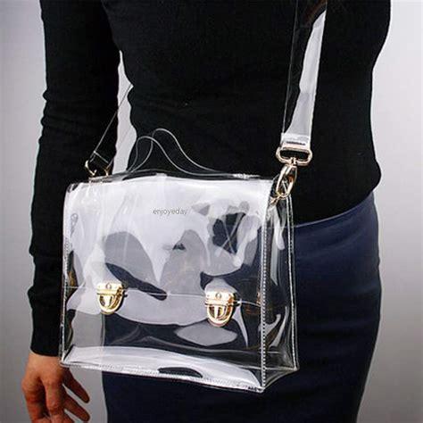 Tas Impor C90469 Black Leather Shoulder Bag Fashion Korea Garis Garis new fashion pvc transparent bag clear handbag tote