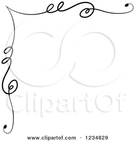 clipart of a black upper corner swirl design element