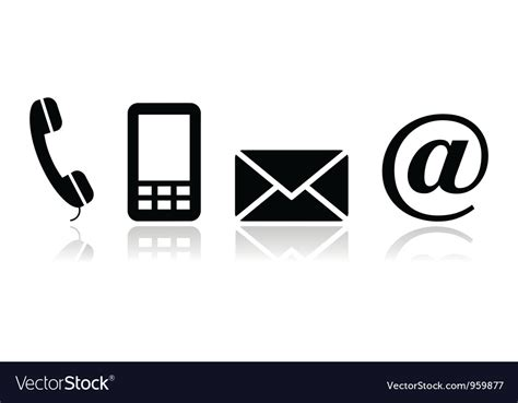 mobile mail contact black icons set mobile phone email vector image