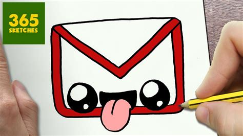 365 Sketches Drawings by How To Draw A Gmail Logo Kawaii Easy Step By Step Drawing