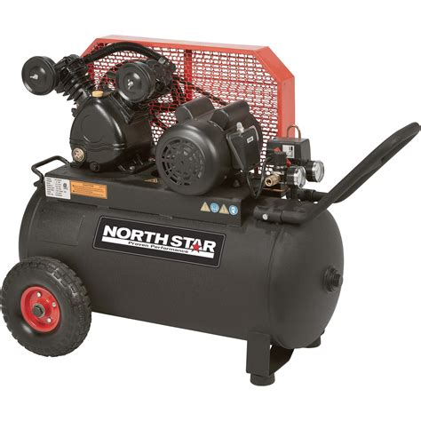 northstar single stage portable electric air compressor 2 hp 20 gallon horizontal 5 0 cfm