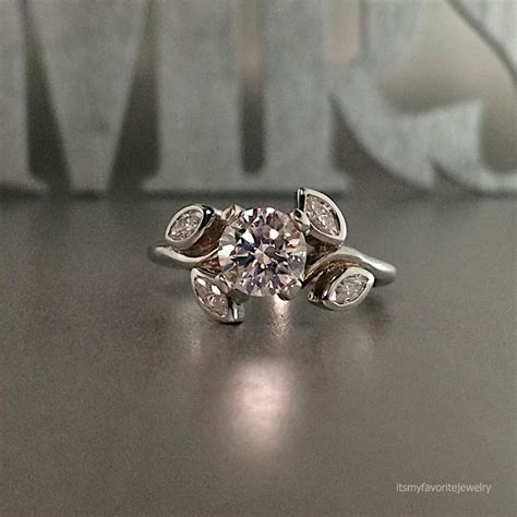 design flower ring unique engagement ring white gold diamond engagement