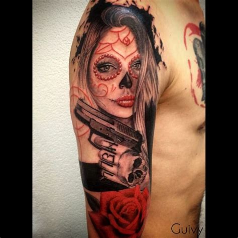 tattoo by guivy catrina makeup santamuerte