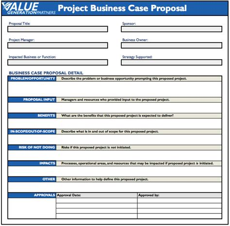 template business project plan generating value by using a project business case proposal