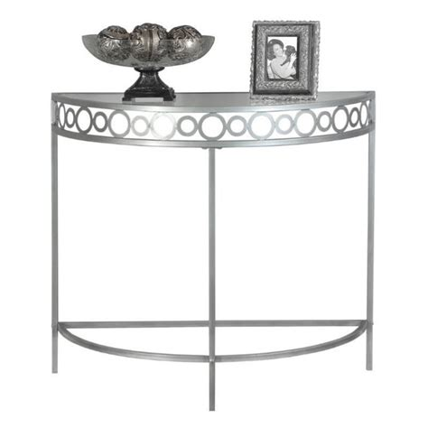 silver table l base console accent table in silver with metal base i 2120
