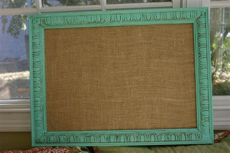 shabby chic bulletin board in tiffany blue w burlap medium