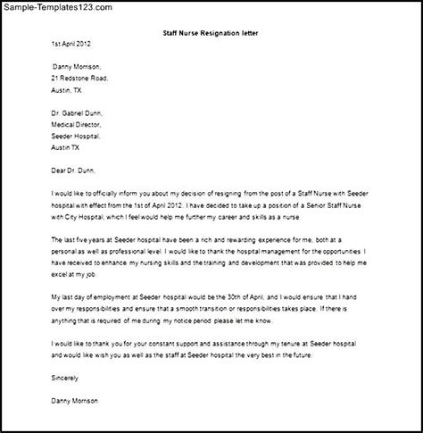 Resignation Letter Format For Staff Nurses Staff Resignation Letter Template Exle Sle Templates