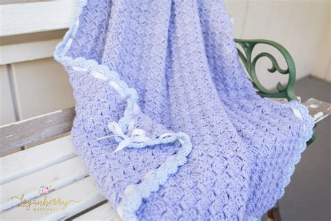 Free Crochet Patterns For Babies Blankets by Baby Blue Scallops Crochet Blanket Free Crochet Pattern