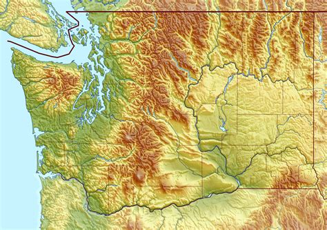 Large detailed relief map of Washington state   Vidiani.com   Maps of all countries in one place
