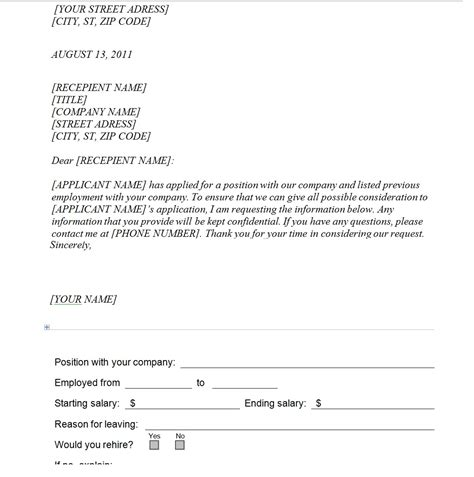 letter of certification of previous employment previous employment verification request template search