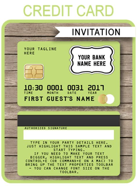 Credit Card Template Png lime green credit card invitations mall scavenger hunt