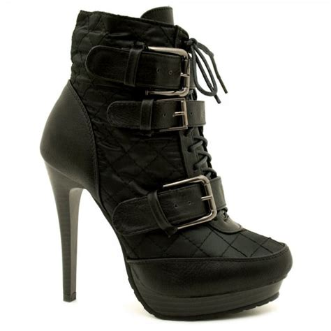 womens black quilted leather style buckle platform