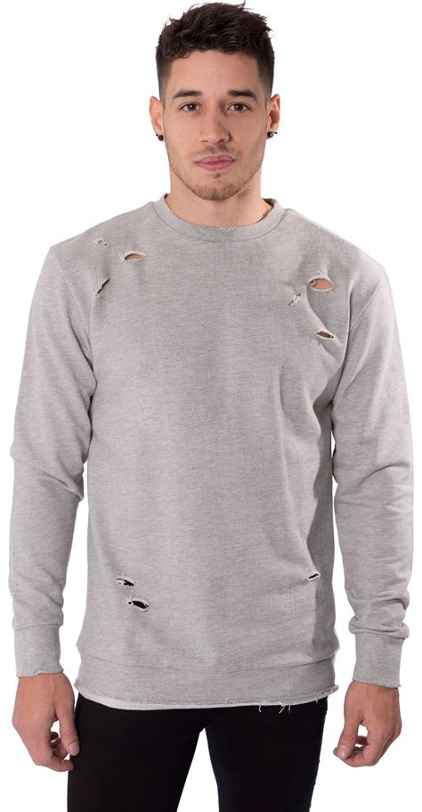Jumper Polos Hoodie Biru mens casual jumper crew neck distressed ripped pull sweat shirt by l f s xl ebay