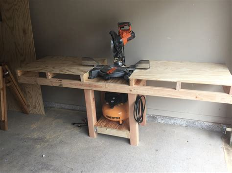 table saw miter miter saw table with a shelf for my air compressor