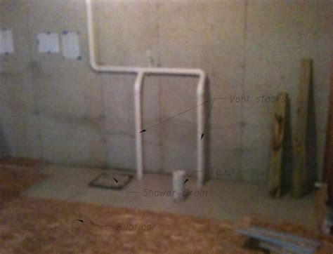 Subfloor and P trap for basement bathroom