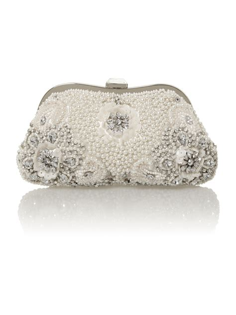 beaded clutch bag untold pearl beaded clutch bag in white lyst