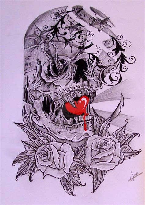 heart on sleeve tattoo design skull half sleeve designs half sleeve skull by