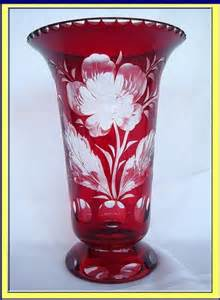 Ruby Vase by Antique Bohemian Glass Vase Ruby To Clear Engraved For