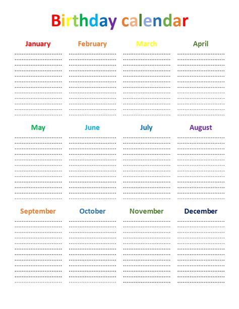 Rainbow Calendar Template