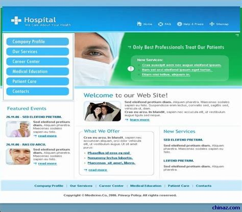 templates for website hospital european and american hospitals website templates over