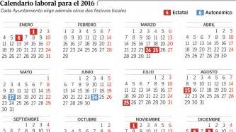 Calendario Con Festivos 2018 Calendario Laboral 2016 Semana Santa Puentes Y D 237 As