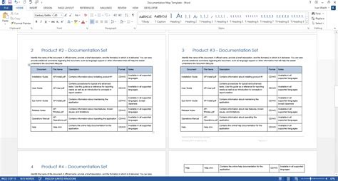 Product Document Map Template Ms Word Technical Documentation Template