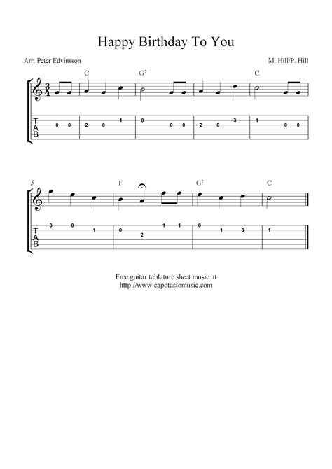 happy birthday guitar music mp3 download happy birthday to you free easy guitar tablature sheet music