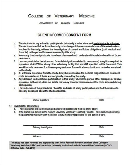 Consent Forms In Pdf Veterinary Surgery Consent Form Template