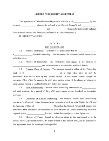 limited partnership agreement template limited partnership agreement legalforms org