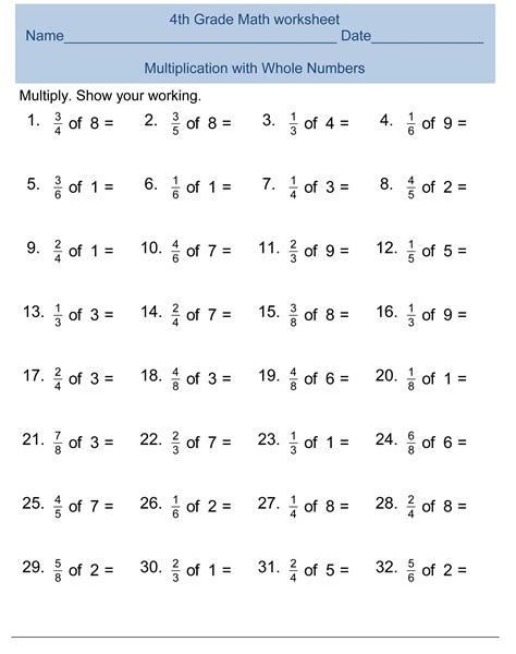 Math Worksheets 4 by Free 4th Grade Math Worksheets Activity Shelter
