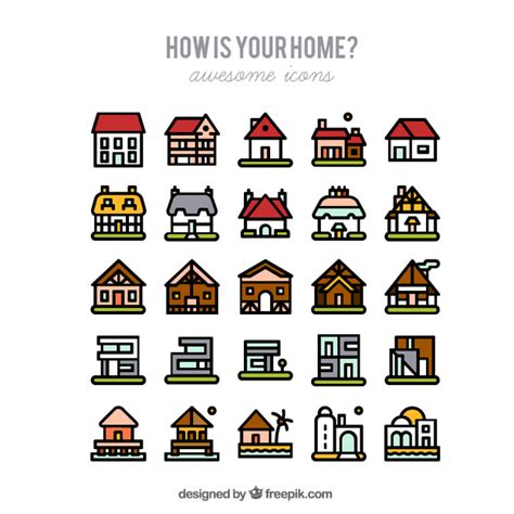 Types Of House Architecture types of houses vector free download