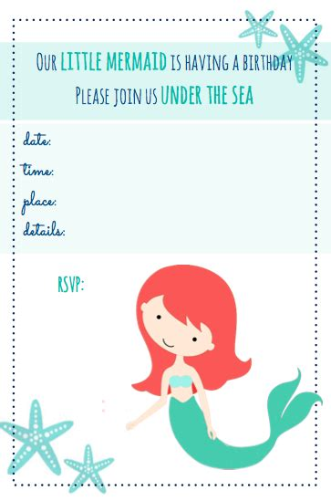 mermaid invitation template 9 best images of free mermaid printable invitation