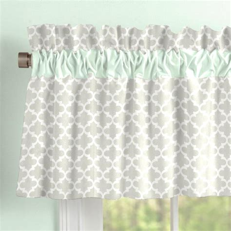Gray Balloon Valance Gray And Mint Quatrefoil Window Valance Rod Pocket