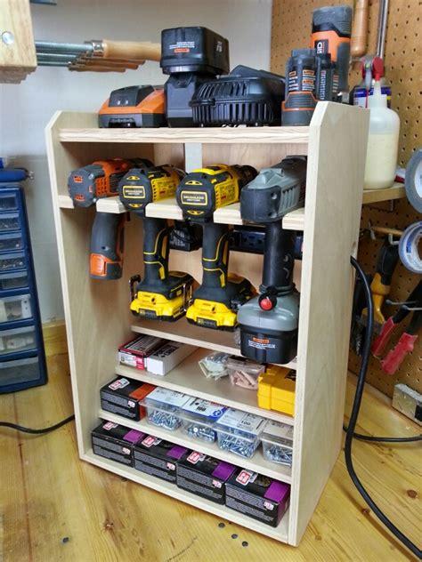 drill rack woodworking   workshop storage