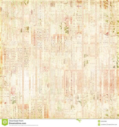 vintage paper ephemera text and flowers collage royalty
