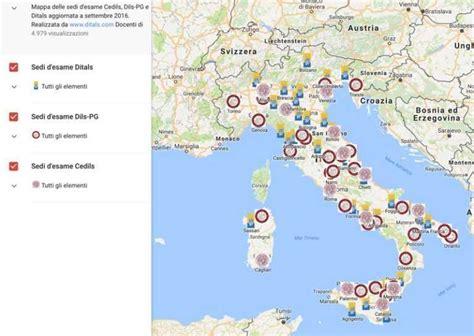 d italia sedi aggiornata la mappa delle sedi d esame cedils dils pg e