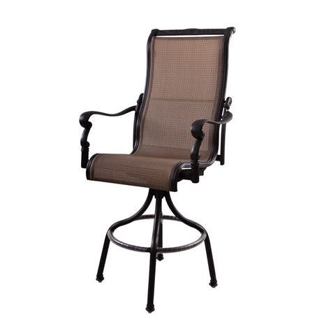 Bar Height Patio Set With Swivel Chairs Shop Darlee Monterey Swivel Mesh Aluminum Patio Bar Height Chair At Lowes