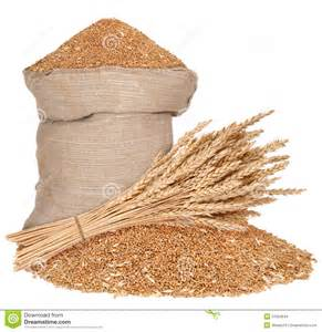 bag and a sheaf of wheat stock images image 27063644