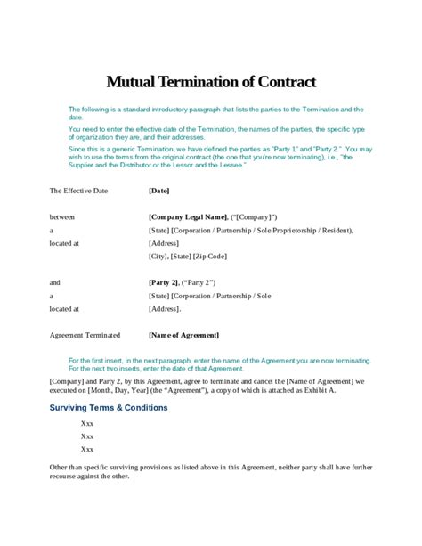 termination contract template best resumes