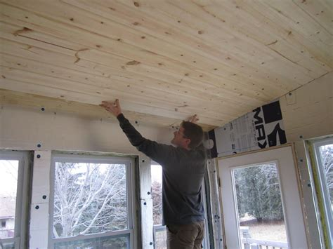 the savstrom family blog knotty pine ceiling in the sunroom