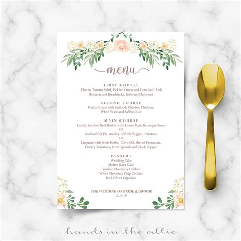 free menu templates for dinner wedding dinner menu printable templates in the attic